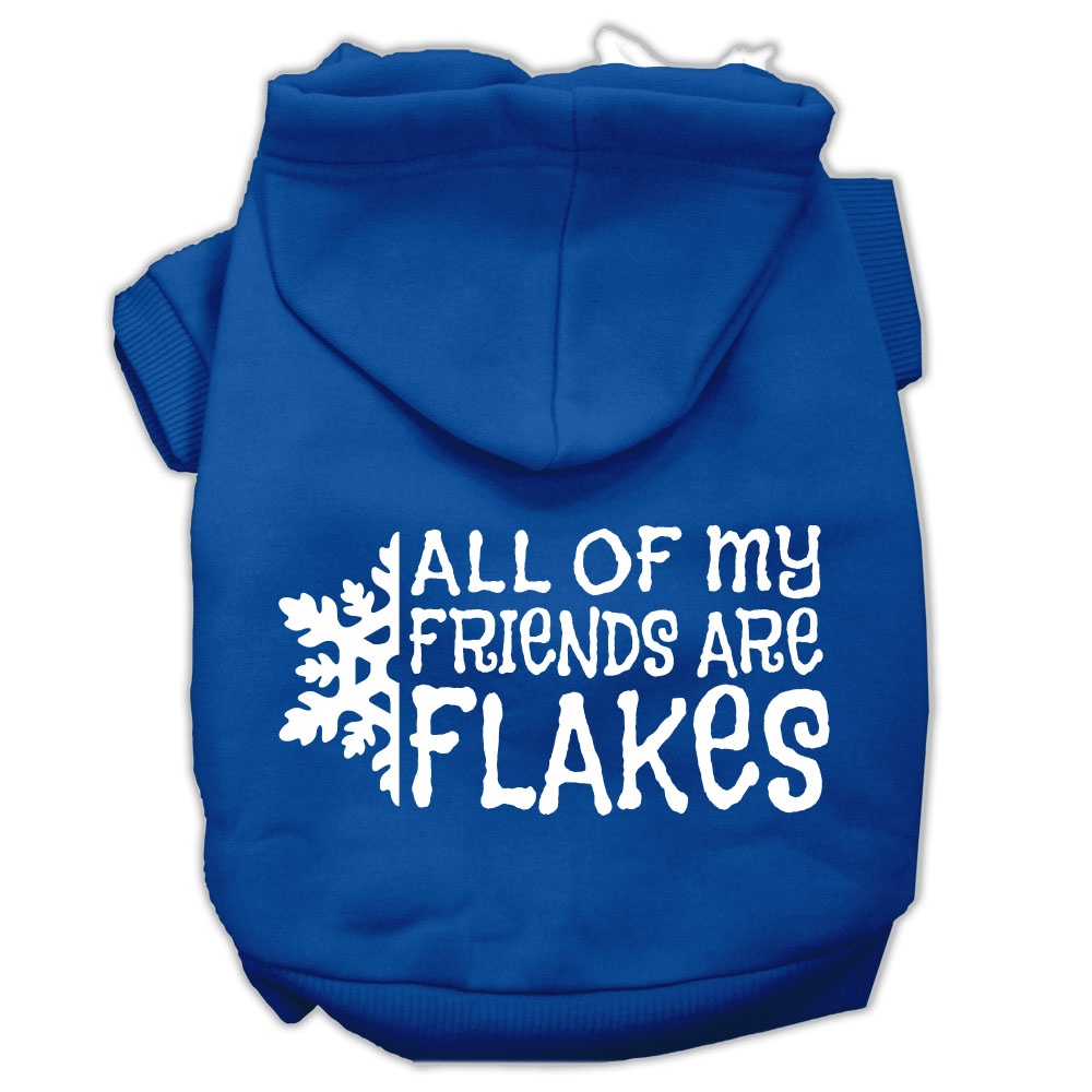 All my Friends are Flakes Screen Print Pet Hoodies Blue Size XL