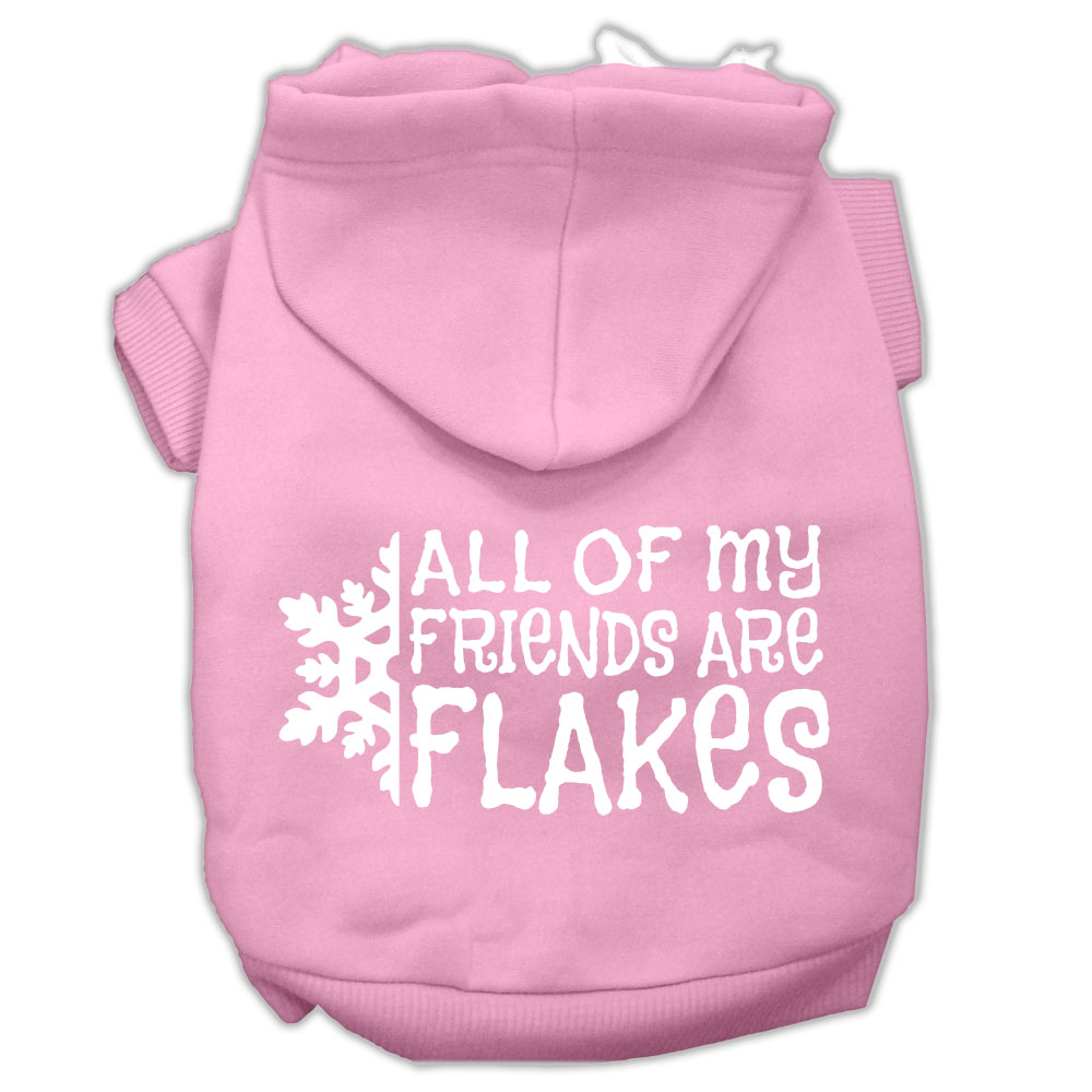 All my friends are Flakes Screen Print Pet Hoodies Light Pink Size L