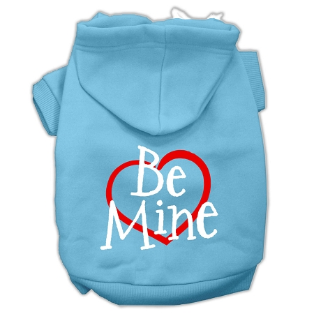 Be Mine Screen Print Pet Hoodies Baby Blue Size Lg