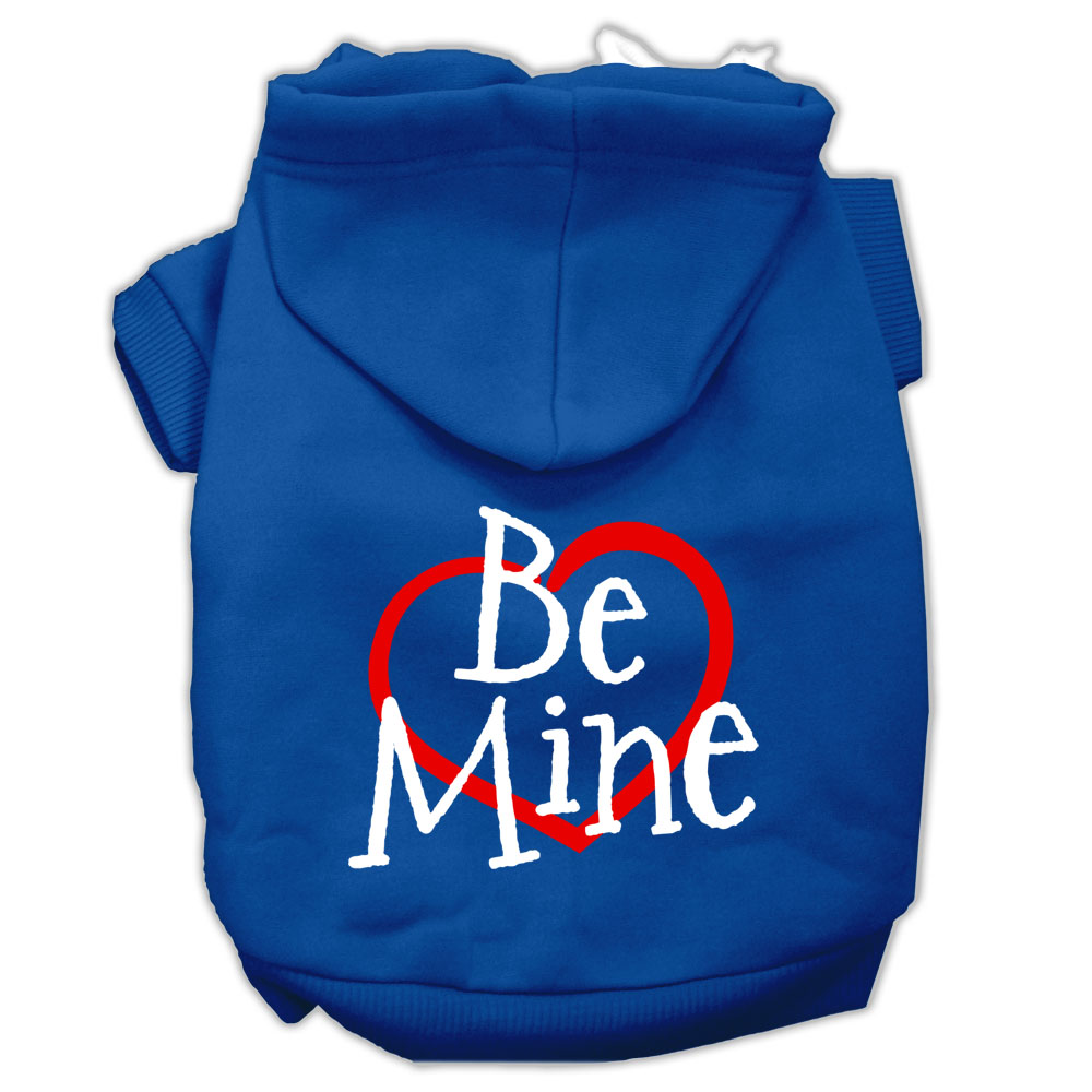 Be Mine Screen Print Pet Hoodies Blue Size XS