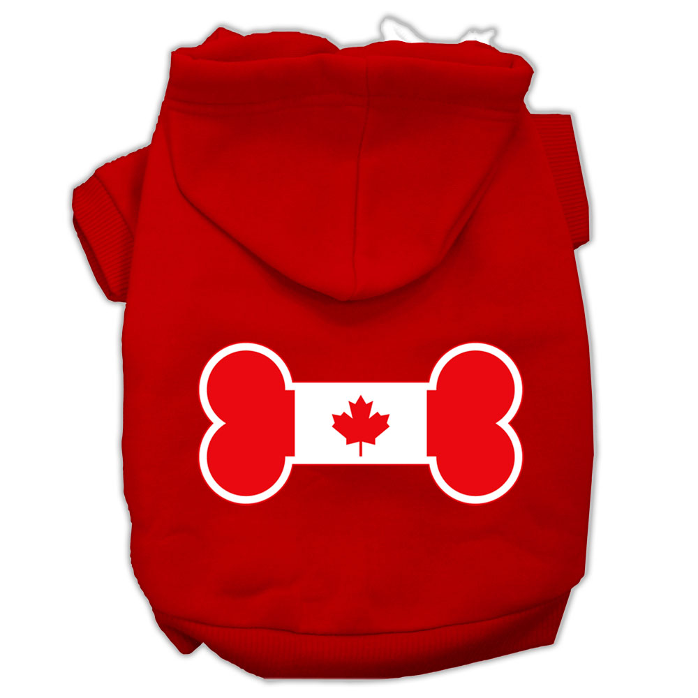 Bone Shaped Canadian Flag Screen Print Pet Hoodies Red Xxxl