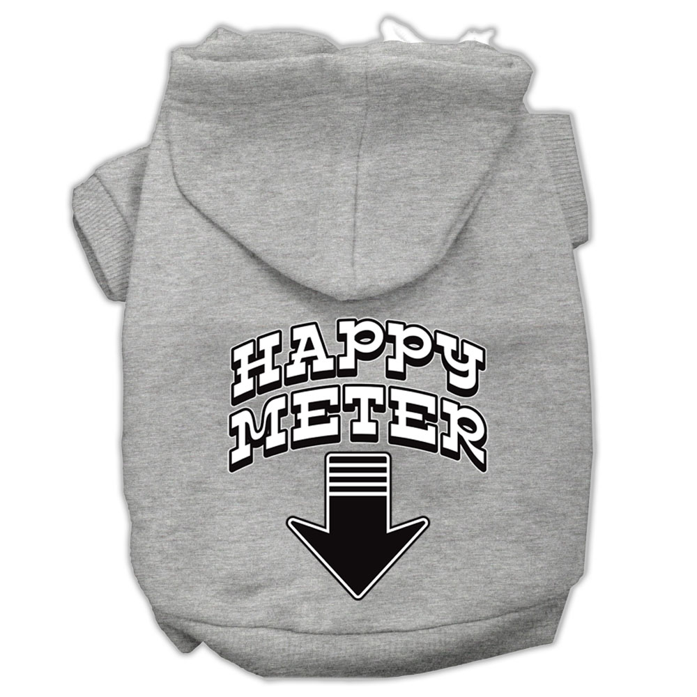 Happy Meter Screen Printed Dog Pet Hoodies Grey Size XXL