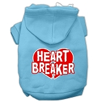 Heart Breaker Screen Print Pet Hoodies Baby Blue Size XS