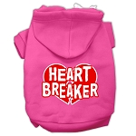 Heart Breaker Screen Print Pet Hoodies Bright Pink Size XS