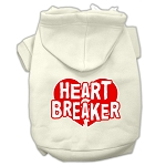 Heart Breaker Screen Print Pet Hoodies Cream Size XS