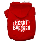Heart Breaker Screen Print Pet Hoodies Red Size XS