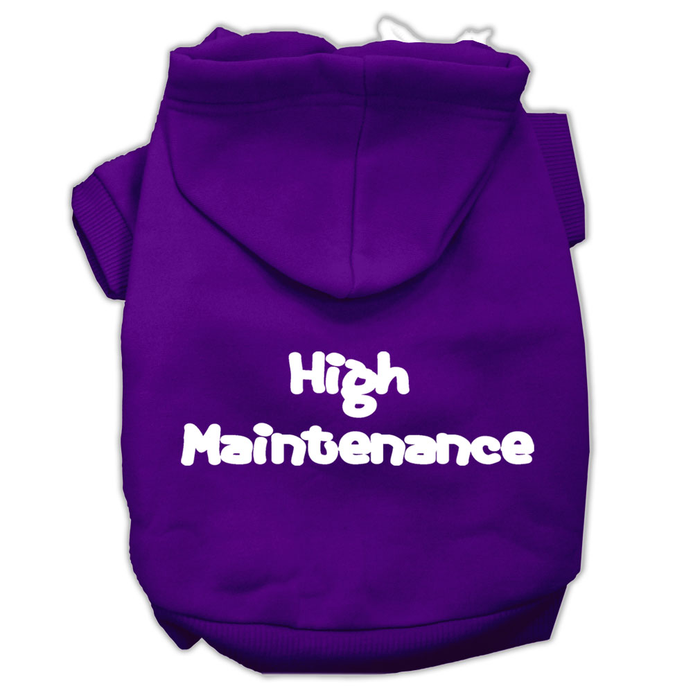High Maintenance Screen Print Pet Hoodies Purple Size L