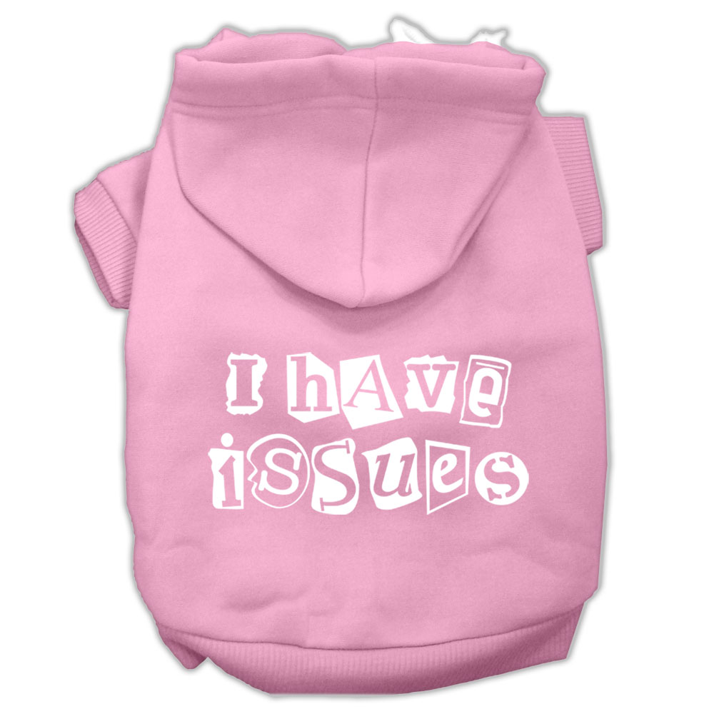 I Have Issues Screen Printed Dog Pet Hoodies Light Pink Size XL