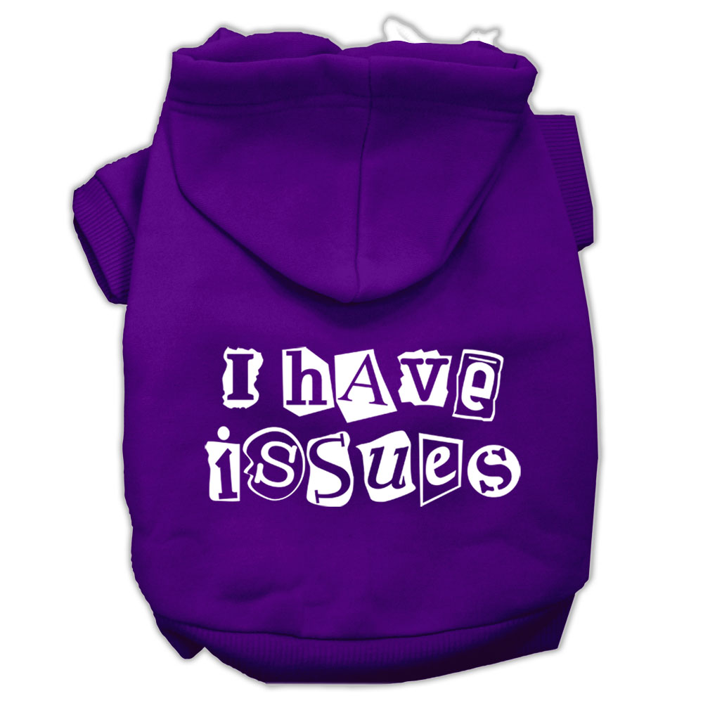 I Have Issues Screen Printed Dog Pet Hoodies Purple Size XXXL