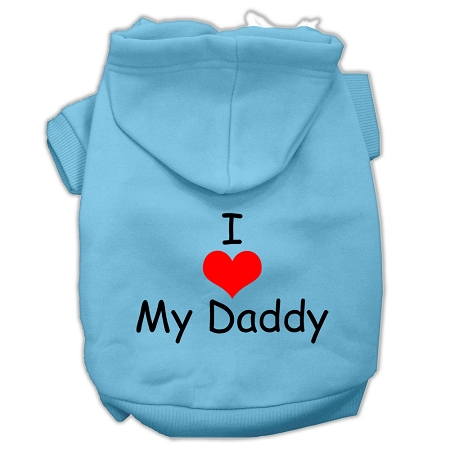 I Love My Daddy Screen Print Pet Hoodies Baby Blue Size XS