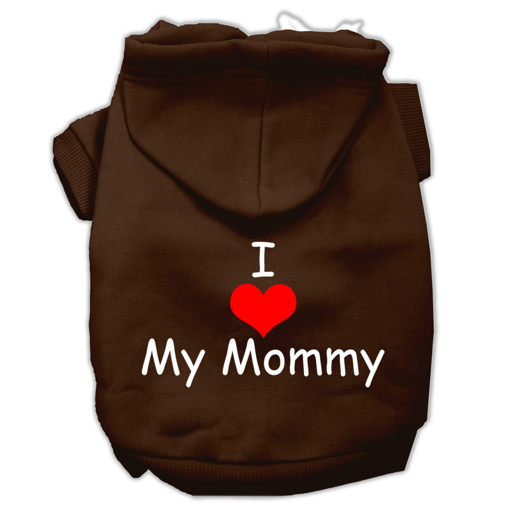 I Love My Mommy Screen Print Pet Hoodies Brown Size XS