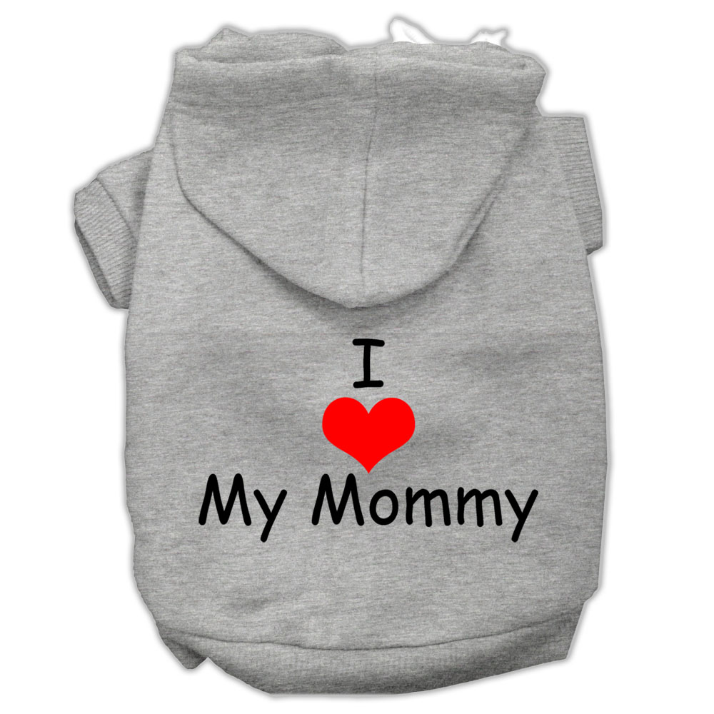 I Love My Mommy Screen Print Pet Hoodies Grey Size Med