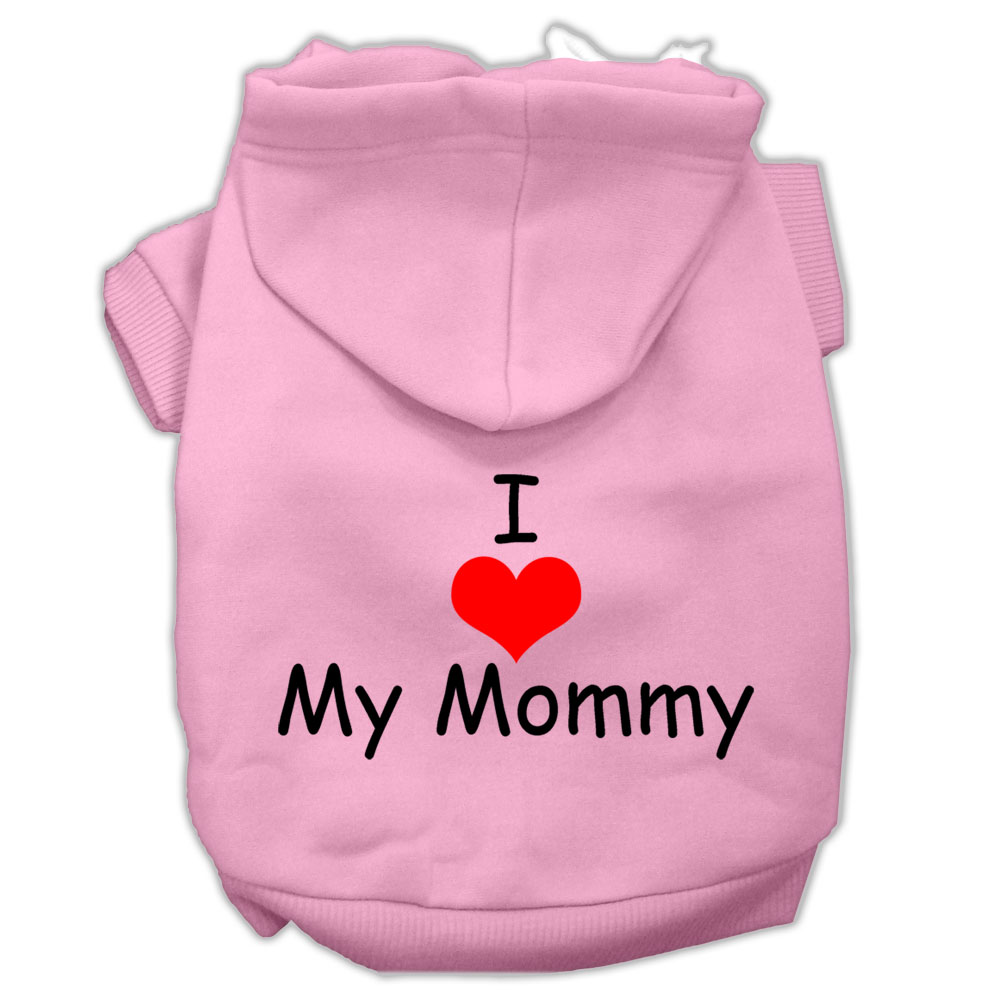 I Love My Mommy Screen Print Pet Hoodies Light Pink Size XL