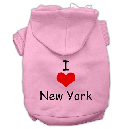 I Love New York Screen Print Pet Hoodies Light Pink Size XS