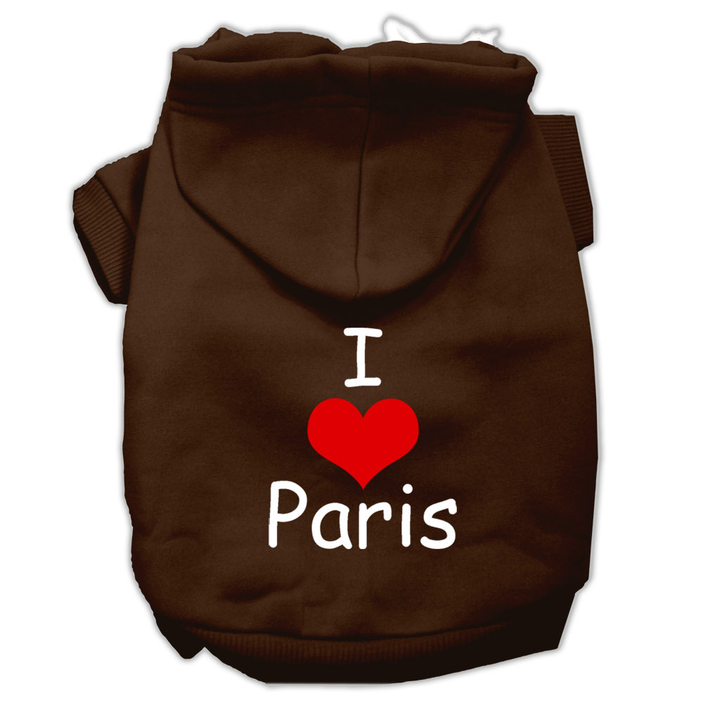 I Love Paris Screen Print Pet Hoodies Brown Size XL