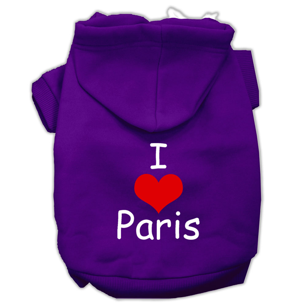 I Love Paris Screen Print Pet Hoodies Purple Size XL
