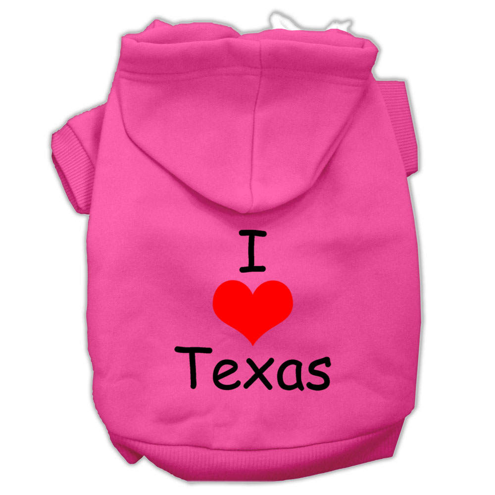 I Love Texas Screen Print Pet Hoodies Bright Pink Size XS