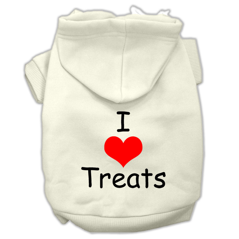 I Love Treats Screen Print Pet Hoodies Cream Size XXL