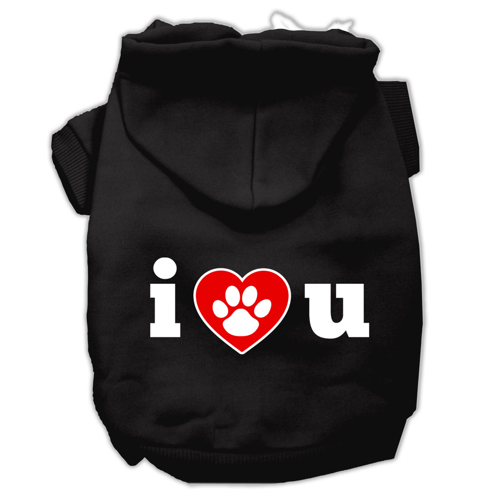 I Love U Screen Print Pet Hoodies Black Size Med