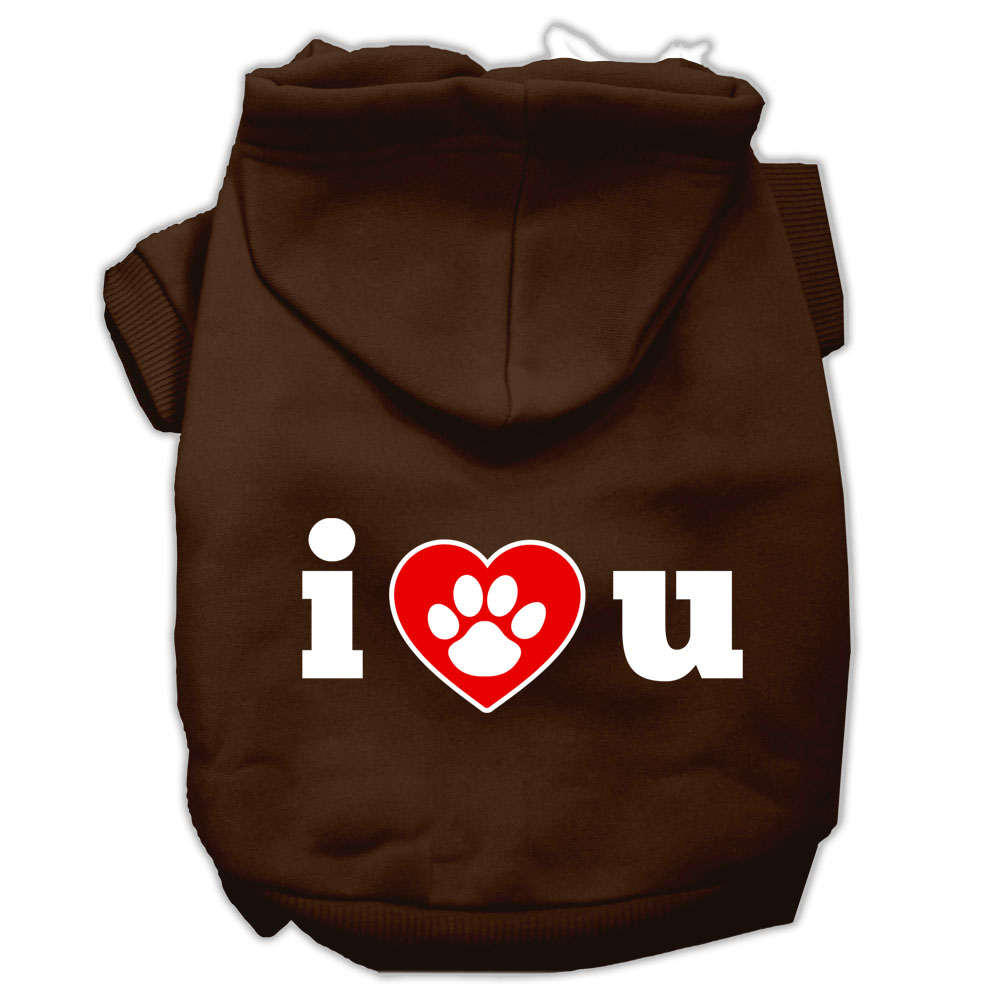 I Love U Screen Print Pet Hoodies Brown Size XXL