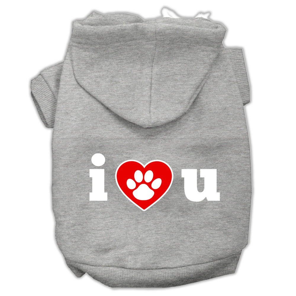 I Love U Screen Print Pet Hoodies Grey Size XXL