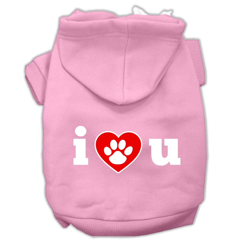 I Love U Screen Print Pet Hoodies Light Pink Size XS