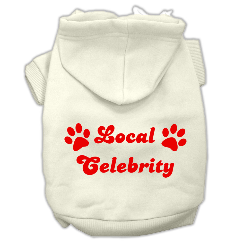 Local Celebrity Screen Print Pet Hoodies Cream Size XXL