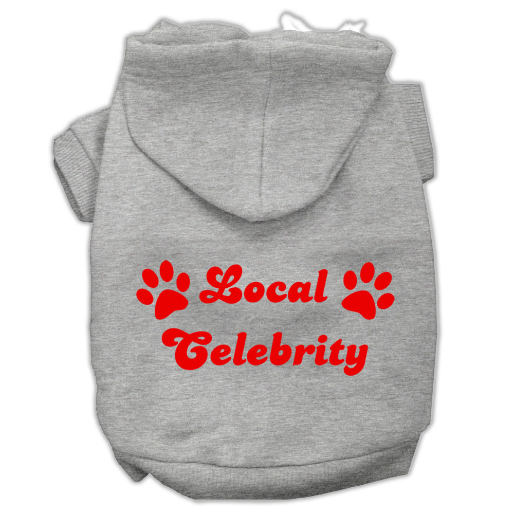 Local Celebrity Screen Print Pet Hoodies Grey Size Lg