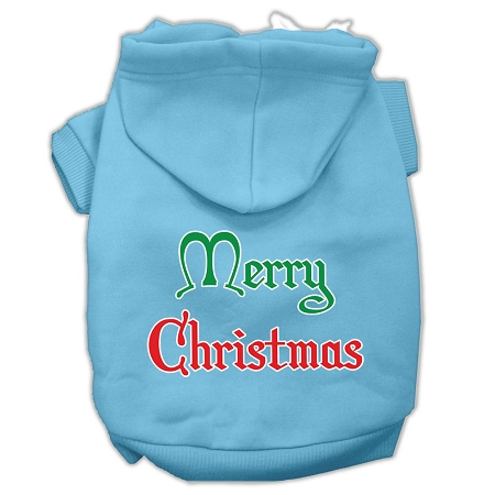 Merry Christmas Screen Print Pet Hoodies Baby Blue Size XXL
