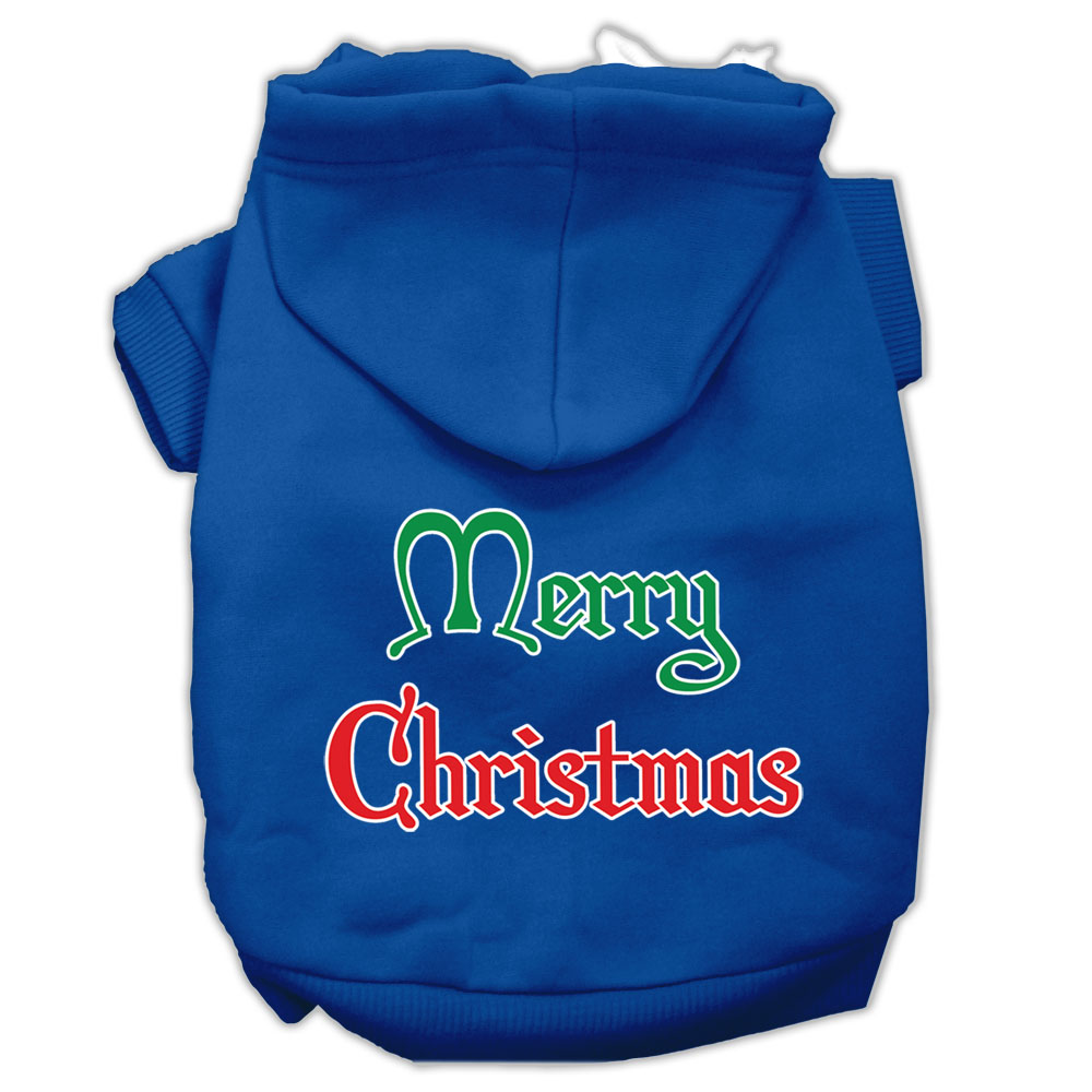 Merry Christmas Screen Print Pet Hoodies Blue Size Lg