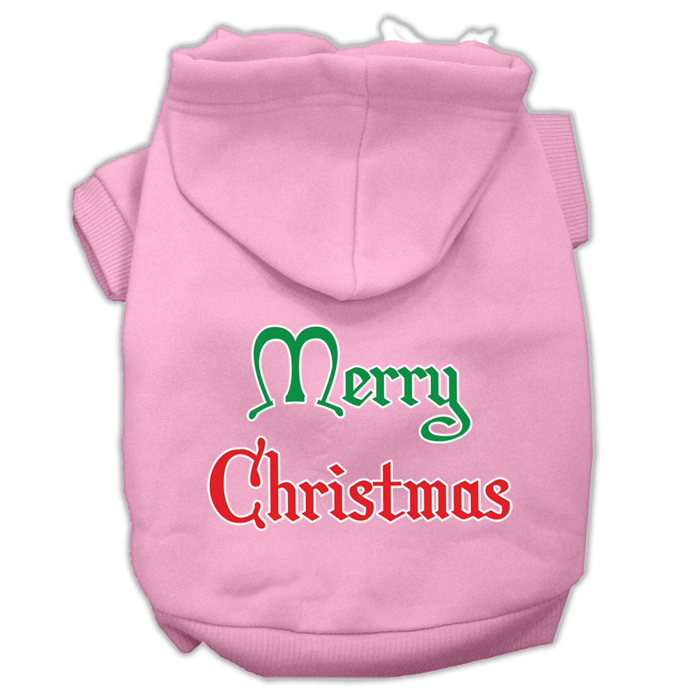 Merry Christmas Screen Print Pet Hoodies Light Pink Size XL