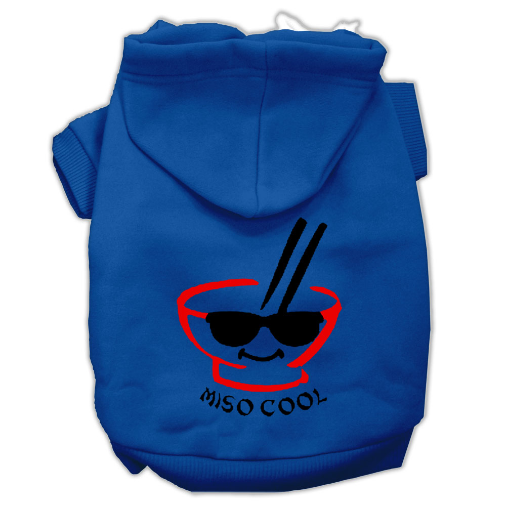 Miso Cool Screen Print Pet Hoodies Blue Size Sm