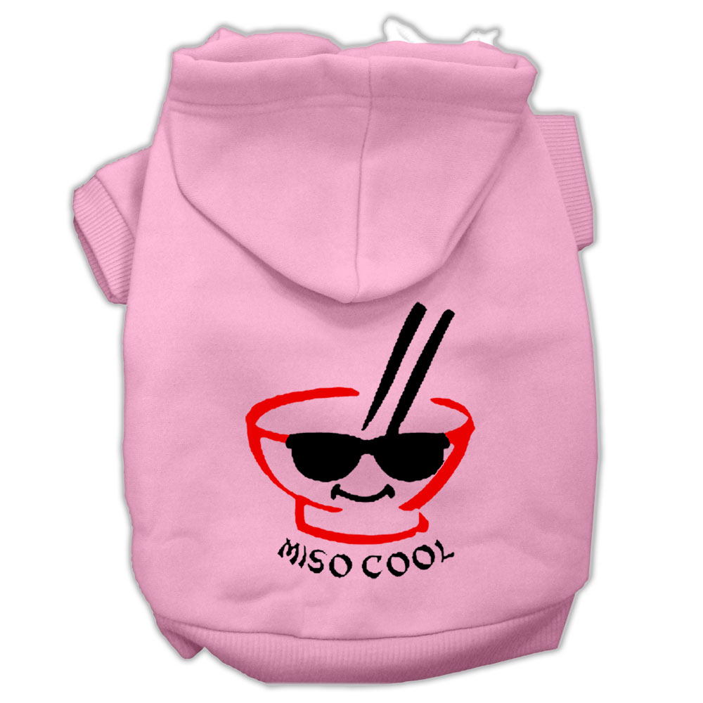 Miso Cool Screen Print Pet Hoodies Light Pink Size Sm
