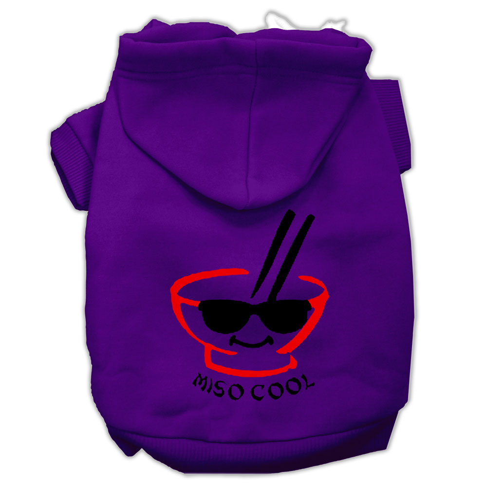 Miso Cool Screen Print Pet Hoodies Purple Size XL