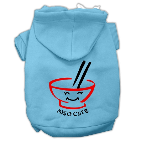 Miso Cute Screen Print Pet Hoodies Baby Blue Size Sm