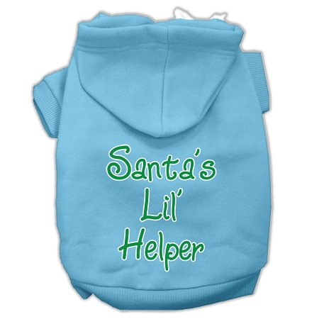 Santa's Lil' Helper Screen Print Pet Hoodies Baby Blue Size XXXL