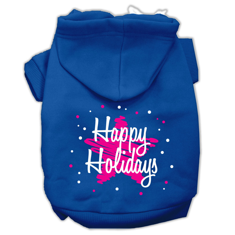 Scribble Happy Holidays Screenprint Pet Hoodies Blue Size M