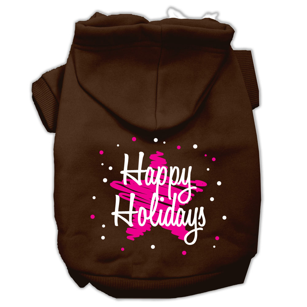 Scribble Happy Holidays Screenprint Pet Hoodies Brown Size M