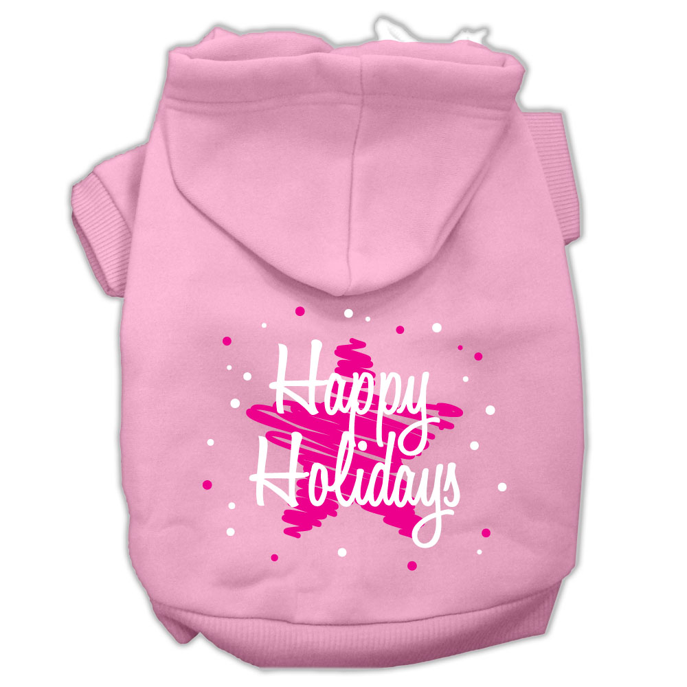 Scribble Happy Holidays Screenprint Pet Hoodies Light Pink Size XXXL