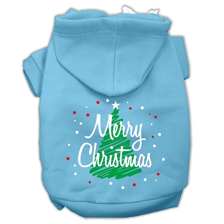 Scribbled Merry Christmas Screenprint Pet Hoodies Baby Blue Size S