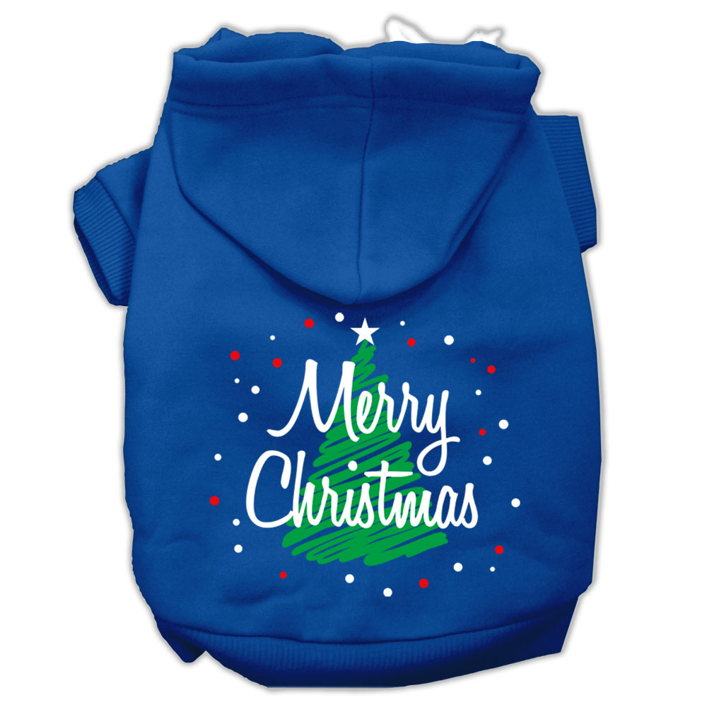 Scribbled Merry Christmas Screenprint Pet Hoodies Blue Size L