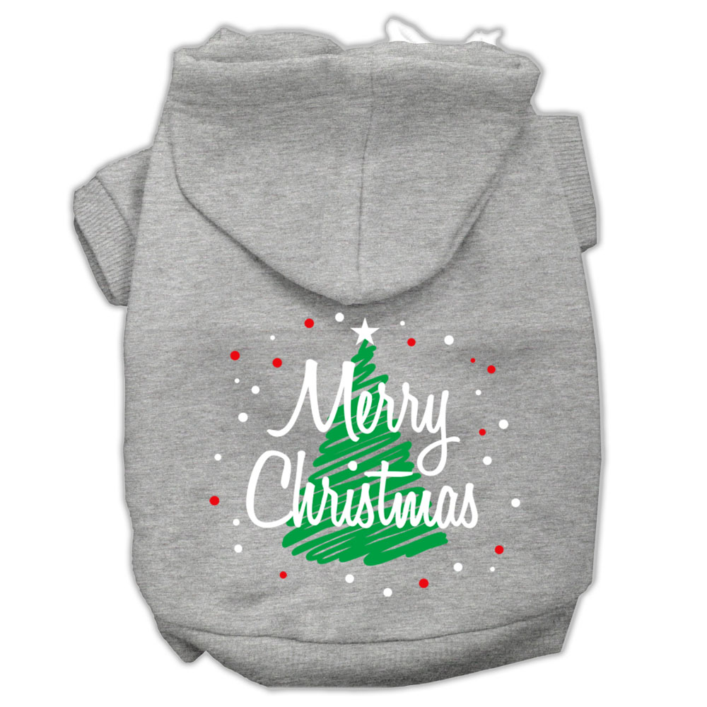 Scribbled Merry Christmas Screenprint Pet Hoodies Grey Size S