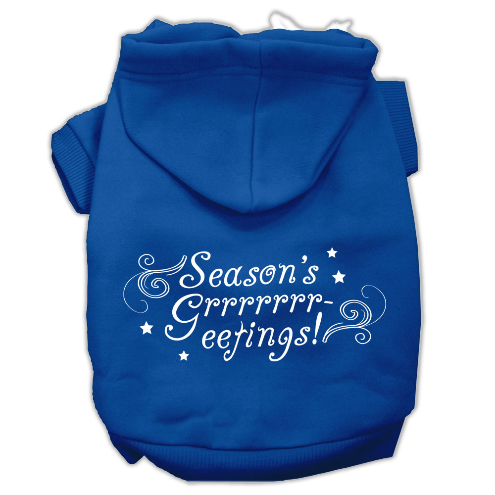 Seasons Greetings Screen Print Pet Hoodies Blue Size M
