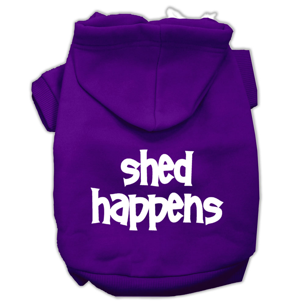 Shed Happens Screen Print Pet Hoodies Purple Size XXXL