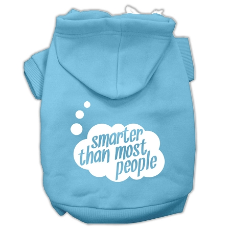 Smarter then Most People Screen Printed Dog Pet Hoodies Baby Blue Size Lg
