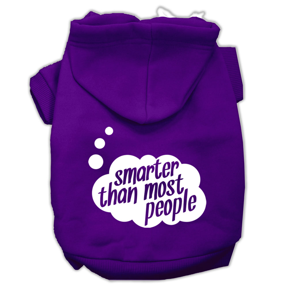 Smarter then Most People Screen Printed Dog Pet Hoodies Purple Size Lg