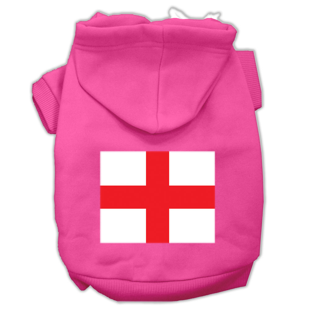St. George's Cross Screen Print Pet Hoodies Bright Pink Size Sm