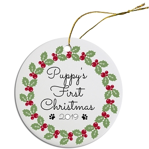 Round Christmas Ornament Puppies First Christmas