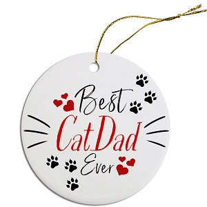 Round Christmas Ornament Best Cat Dad