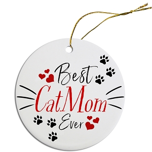 Round Christmas Ornament Best Cat Mom